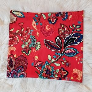 Bright red Floral Print Decorative Pillow Cover